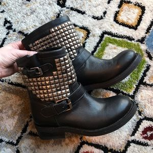 Ash Tennessee Studded Leather Moto Boots